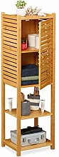 Relaxdays Bamboo Bathroom Cabinet, 5 Shelves, 1