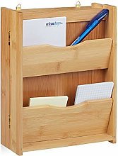 Relaxdays Bamboo Cabinet with 6 Hooks, Closes