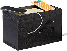 Relaxdays Bamboo Cable Box, Hide Lead Extensions &