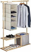 Relaxdays Bamboo Clothes Stand, Wardrobe with