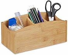 Relaxdays Bamboo Desk Organiser, Pencil Holder