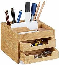 Relaxdays Bamboo Desk Organizer, Stationery Pen