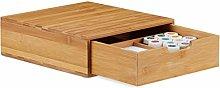 Relaxdays Bamboo Drawer Box, Desk Organiser,