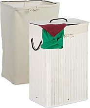 Relaxdays Bamboo Folding Laundry Basket with Lid,