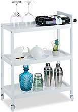 Relaxdays Bamboo Kitchen, Serving Cart with 3
