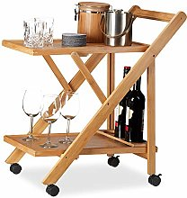 Relaxdays Bamboo Kitchen Trolley, Foldable Serving