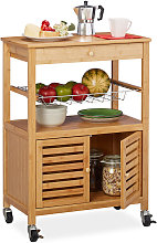 Relaxdays Bamboo Kitchen Trolley, Worktop, Cabinet