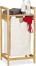 Relaxdays Bamboo Laundry Hamper, Storage Box with