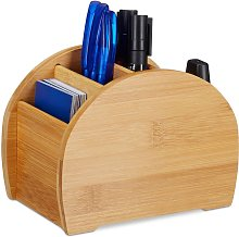 Relaxdays Bamboo Pen Holder, 4 Compartments,
