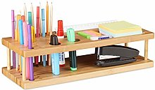 Relaxdays Bamboo Pen Holder, Desk Organiser for 25