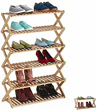 Relaxdays Bamboo Rack Foldable Hallway 6 Levels up