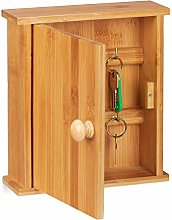Relaxdays Bamboo Rack, Wooden Key Cabinet with 6