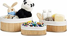 Relaxdays Bamboo Set of Shelf Baskets, 12.5 x 32 x