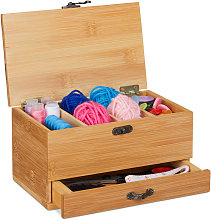Relaxdays Bamboo Sewing Box, 4 Compartments &