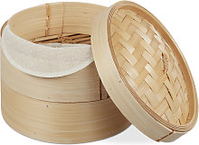 Relaxdays Bamboo Steamer Basket, 2 Tiers, For