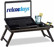Relaxdays Bamboo Table, Height-Adjustable Laptop