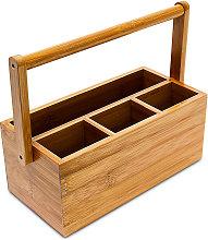 Relaxdays Bamboo Table or Desk Organiser, HxWxD: