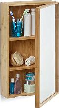 Relaxdays Bathroom Bamboo Mirror Cabinet, 1 Door