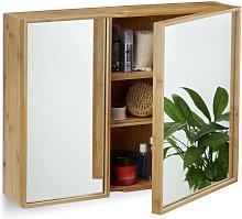 Relaxdays Bathroom Bamboo Mirror Cabinet 2 Doors,