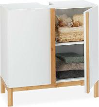 Relaxdays Bathroom Floor Cabinet, 2 Shelves,