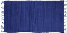 Relaxdays Blue Rag Rug 70 x 140 cm with Fringes