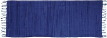 Relaxdays Blue Rag Rug 80 x 200 cm with Fringes