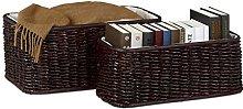 Relaxdays Buri Basket Set, 2 Woven Decorative