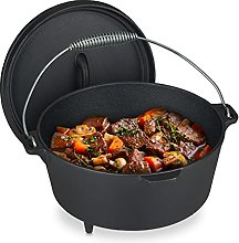 Relaxdays Cast Iron Pot with Lid, Diameter 24.5