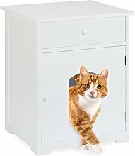 Relaxdays Cat Cabinet with Drawer, Wooden Cupboard