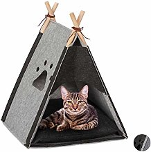 Relaxdays Cat Tent, Pet Teepee for Felines & Small