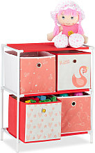 Relaxdays Children's Shelf with 4 Boxes, Toy