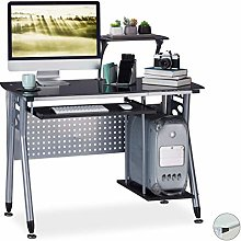 Relaxdays Computer Desk Glass, Keyboard Tray &