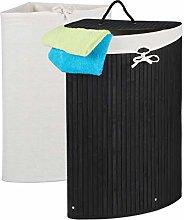 Relaxdays Corner Laundry Basket Bamboo Foldable