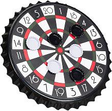 Relaxdays Crown Cap Dart Board, Magnetic Target,