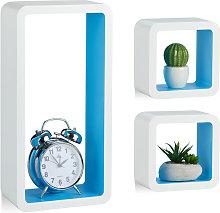 Relaxdays Cube Shelves, Set of 3, Floating,