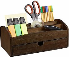 Relaxdays Desk, Bamboo Office Organiser with