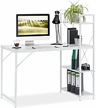 Relaxdays Desk, Combi With 4 Shelves, For Bedroom