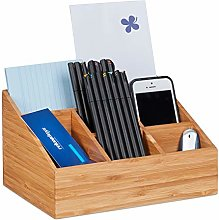 Relaxdays Desk Organiser, 6 Compartments for Pens,