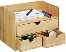 Relaxdays Desk Organiser, Bamboo Letter Tray,
