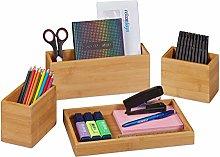 Relaxdays Desk organiser, set of 4, pen holder,