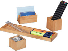 Relaxdays Desk Organiser, Stationery Set of 4, Pen