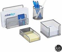 Relaxdays Desk Organiser with Letter Rack/Pen Note