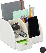 Relaxdays Desk Supplies Organiser, Faux Leather,