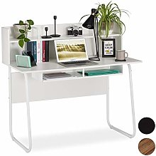 Relaxdays Desk with Shelving Above & Below, Cable