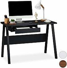 Relaxdays Desk with Sliding Keyboard Shelf,