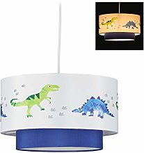 Relaxdays Dino Hanging Lamp, Round Lampshade with