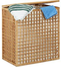 Relaxdays Double Laundry Hamper, 2-Compartment Bin