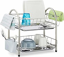 Relaxdays Drainer with 2 Tiers, Cutlery Holder,