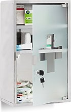 Relaxdays EMERGENCY Medicine Cabinet XL, Stainless