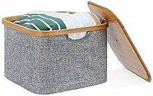 Relaxdays Fabric Storage Basket, Grey Laundry
